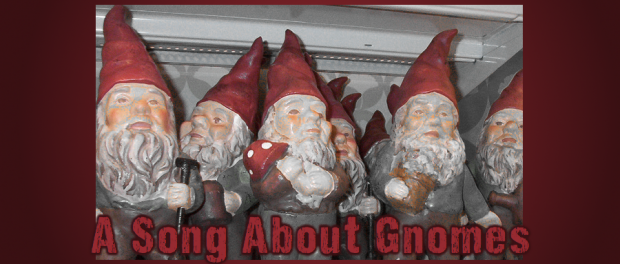 lawn gnomes on a shelf
