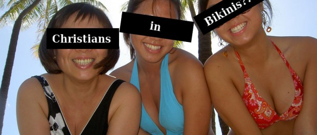 family wearing bikinis